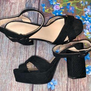 TOPSHOP Black Velvet Embossed Sandals Size EU38